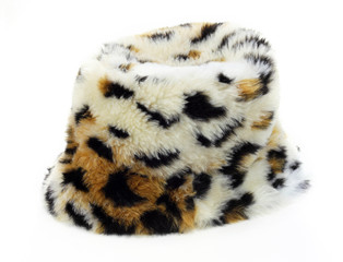 fur hat on white background