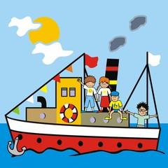 boat and kids