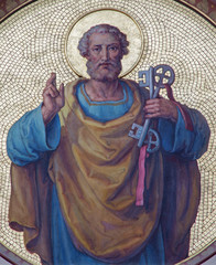 Fototapete - Vienna - Fresco of st. Peter the apostle in Carmelites church