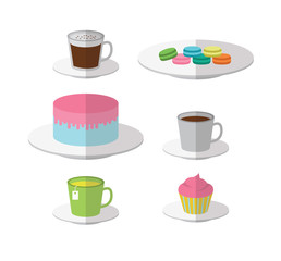 Bakery and drink icons. flat design. vector