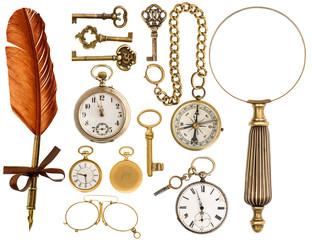 antique accessories. antique keys, clock, loupe, compass