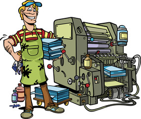 Worker with Printing Press Machine
