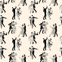 pattern of the vintage dancing couples