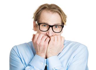 Portrait, headshot anxious nerd, man white background
