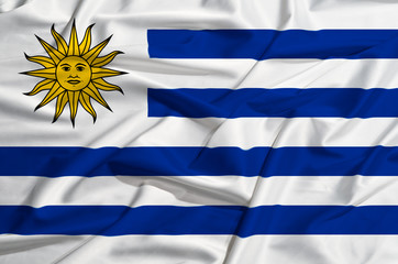 Uruguay flag on a silk drape waving