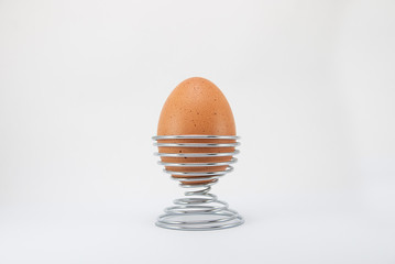 Brown egg on metal stand holder