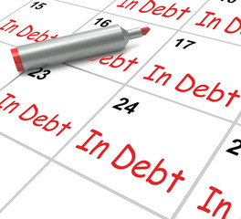In Debt Calendar Shows Money Owing And Due