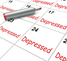 Depressed Calendar Means Discouraged Despondent Or Mentally Ill