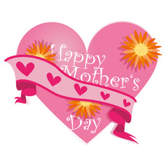 Happy Mother's Day,Heart,Flowers,Banner,Vector,free