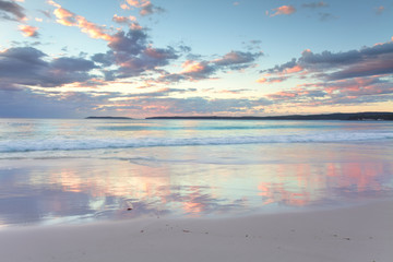 Pretty pastel dawn sunrise at Hyams Beach NSW Australia