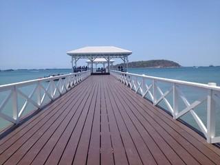 White bridge into the sea at Srichang island, Thailand