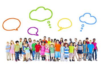 Group of Multiethnic Children Speech Bubbles