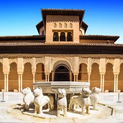 Fototapete - Famous Lion Fountain - Alhambra Palace, Granada (Andalusia)