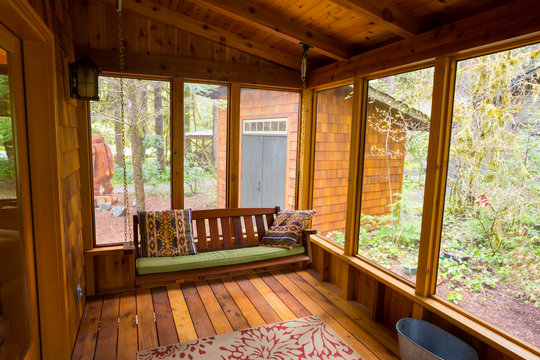 Bench Swing in Screened Porch