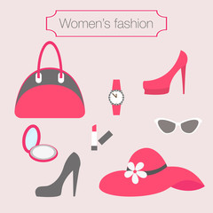 Women's fashion collection of pink accessories