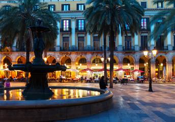 Placa Reial in  night. Barcelona