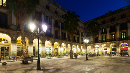 night view of Placa Reial in  Barcelona, Spain
