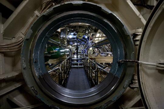 submarine interior view through manhole