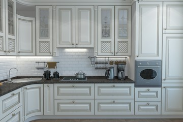 A 3d rendering of Classical Design Luxurious Kitchen