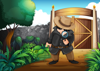A detective at the backyard