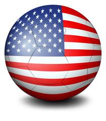 A ball with the USA flag
