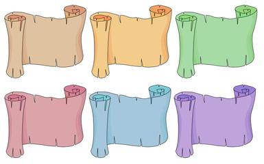 Six empty paper scrolls