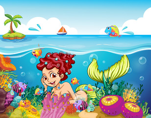 Papiers peints Sous-marin A smiling mermaid under the sea