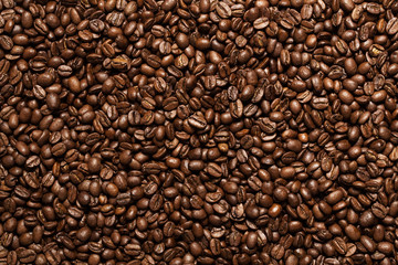 Coffee beans background with copy space
