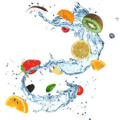Wall Murals Splashing water Fruit with water splash