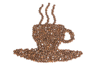 Coffee beans forming a coffee cup, plate, and steam