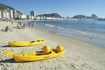 Yellow Kayak Boats Copacabana Rio Brazil