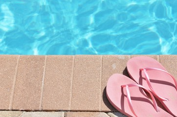 Poolside holiday vacation scenic flip flops thongs background copy space stock, photo, photograph, image, picture,