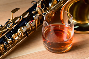 Saxophone and whiskey