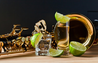 saxophone and tequila with lime