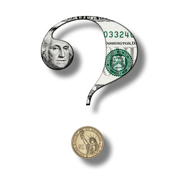 Dollar Banknote on Question Mark