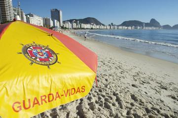 Copacabana Beach Morning Rio Brazil Lifeguard Umbrella