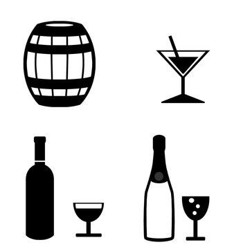 Boissons alcoolisées en 4 icônes