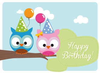 cute owls with hats and balloons on branch for birthday party