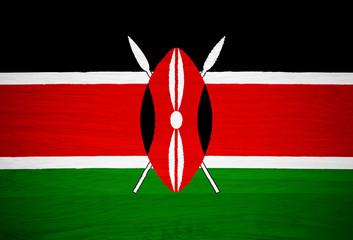 Kenya flag on wood texture