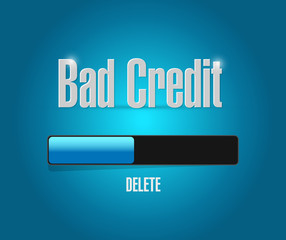 delete bad credit loading bar concept illustration