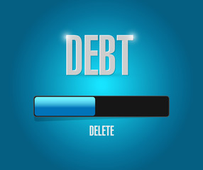 delete debt loading bar concept illustration