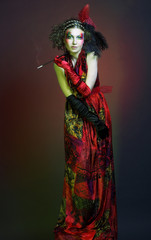 Stylish woman smoking cigarette.
