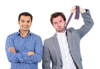 Portrait two men pessimist and optimist on white background
