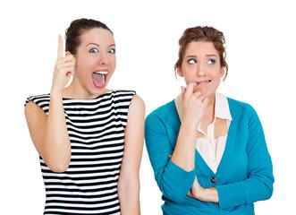 Two women, Pessimist, optimist. Bipolar disorder concept