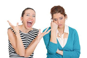 Two women pessimist, optimist on white background