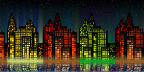 Abstract night Life City with various colored light