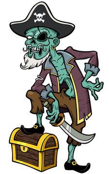 Vector illustration of Cartoon Pirate zombie