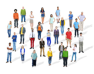 Large Group of Diverse Multiethnic Colorful People