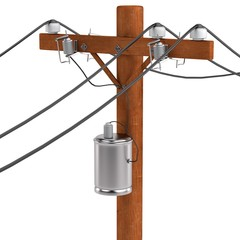realistic 3d render of power line