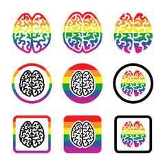 Gay Human brain icons set - rainbow symbol